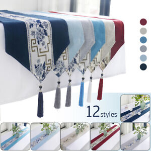 Vintage Tablecloth Table Runner Brocade Floral Wedding Table Runner with Tassel