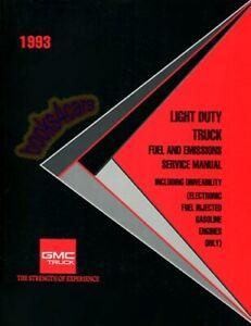 SHOP MANUAL SERVICE REPAIR 1993 BOOK GMC CHEVROLET TRUCK FUEL EMISSIONS