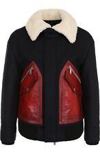BNWT Mens DSquared2 Navy Fur Jacket Shearling Collar Coat Red Pockets UK38 £1729