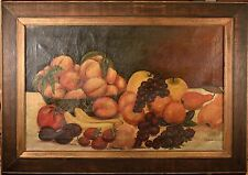 Antique Still Life Fruit Oil Painting on Canvas Signed by Johanna Herrmann, NICE