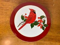 Vintage Otagiri Lacquerware Cardinal/Holly Coaster Set (6) Gold Rim Japan