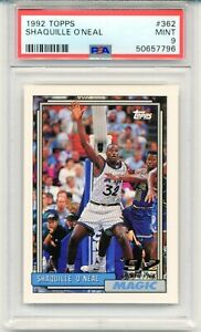 1992 Topps Shaquille O'Neal ROOKIE CARD #362 RC Shaq Graded Rare MINT PSA 9