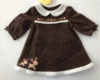 Nwt Gymboree Baby Girl 3-6 Months Reindeer Sherpa Trim Dress Diaper Cover #O1