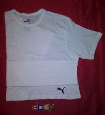 PUMA PURE WHITE T SHIRT W BLACK CAT LOGO MEN SZ M NEW !