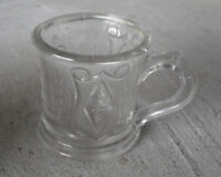 "Antique Small American Pattern Glass Mug with Shield and Leaves 2 1/2"" T Look"