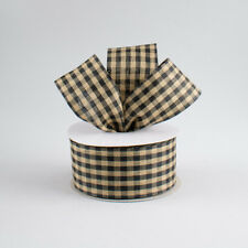 1.5 Inch Black and Cream Country Check Plaid Wired Ribbon - 5 Yards off Roll