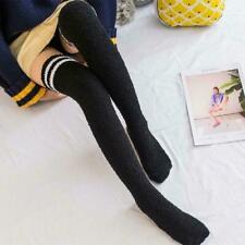 Winter Thigh High Socks Coral Velvet Knee Socks Thick Stockings Striped A5P2