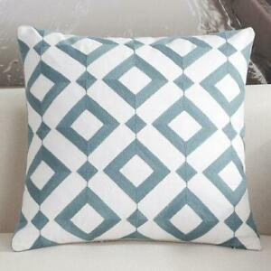 Diamond Teal White Square Scandinavian embroidery Indoor cushion cover 18' Decor