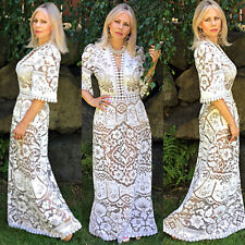 Vtg 70s Sheer Crochet Lace Scallop Bohemian Beach Wedding Runway Maxi Dress Gown