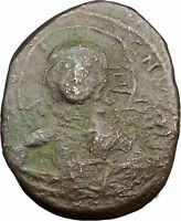 JESUS CHRIST Class B Anonymous Ancient 1028AD Byzantine Follis Coin CROSS i39442