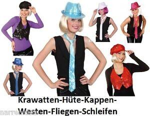 Disco Pailletten Glitter Hut Mütze Kappe Kostüm Krawatte Schlips Fliege Schleife