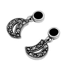 Marcasite Half Moon Stud Earrings Sterling Silver 925 Jewelry Gift Black Onyx
