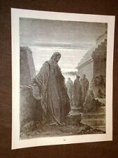 Incisione di Gustave Dorè del 1880 Bibbia Daniele dal Re Bible Engraving
