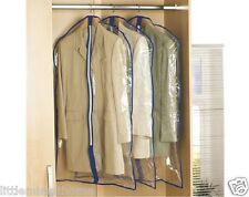 3 CLEAR SUIT BAG COVERS WATERPROOF CLOTHES DRESS COAT DUST PROTECTOR CARRIER ZIP