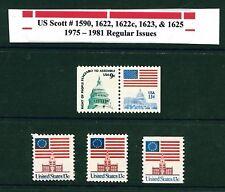 US SCOTT #1590, 1622, 1622c, 1623, & 1625 // 1975 - 1981 Regular MNH Issue