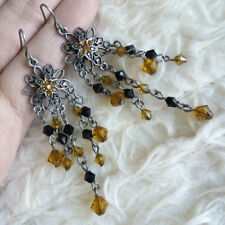 Vintage Womens Boho Hippy Antique Brown Black Beads Dangle Drop Hook Earrings