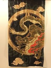 "Japanese Noren Doorway Curtain Dragon Gold Black 34""x59"" 100% polyeste New Japan"