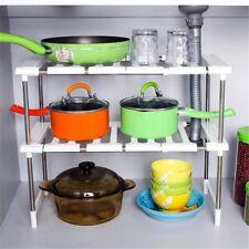 Meuble cuisine sous évier stockage étagère réglable étagères Organisateur Salle de Bain