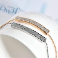 Adjustable Gold Crystal Pave Bar Slider Bracelet Drawstring Tightening Gift TR