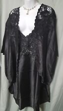 VENTURA KNEE LENGTH BLACK CHARMEUSE LACE  NIGHTGOWN AND JACKET SIZE 1X