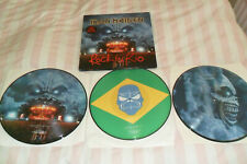 IRON MAIDEN -ROCK IN RIO ORIGINAL 2002 TRIPLE PICTURE DISC SET HEAVY METAL EX/EX