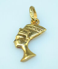 14K YELLOW GOLD NEFERTITI CHARM OR SMALL PENDANT SAME ON BOTH SIDES FROM ITALY