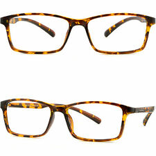 Thin Light Men's Women's Frame Wide TR90 Memory Plastic RX Glasses Tortoiseshell