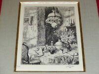 Louis Charrat (1903-1971) Beautiful Engraving Etching Signed 1970 1/40 Interior