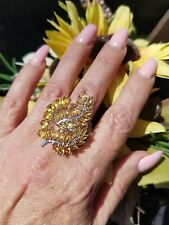 Natural Pear & Marquise Citrine Pheonix Wing Cluster Ring,  925 Silver,  Size 9
