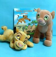 Disney The Lion King SIMBA & NALA Plush Stuffed Animal Toys Pair of Cubs w/ Book