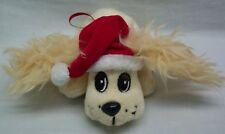 "Pound Puppies HOLIDAY CREAM PUPPY DOG W/ SANTA HAT 6"" Plush TOY STUFFED ORNAMENT"