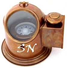 Vintage Marine Binnacle Boat Oil Lamp Brass Nautical Ship Compass Antique Gimbal