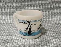 Vintage 1985 Termocrisa SEA WORLD SHAMU Milk Glass Souvenir Coffee Mug Cup USA
