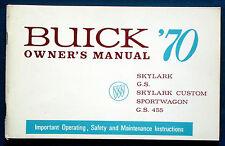 Owner'S MANUAL * Manuale di istruzioni 1970 Buick Skylark G.S. Sportwagon (USA)