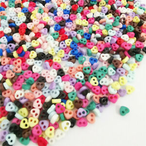 300 4mm Heart TINY SMALL RESIN BUTTONS MIXED COLOURS CRAFT  SCRAPBOOK SEWING