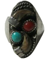 Navajo Turquoise And Coral Sterling Silver Benjamin Haley Ring Size 10