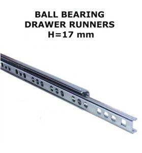 Drawer Runners Groove Ball Bearing 17mm, PAIR -  PKO17