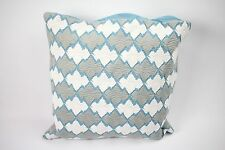 "Hotel Collection Linen Turquoise Embroidered 18"" Square Decorative Pillow B317"