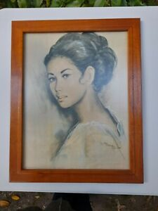 Vintage Art Print Mid-Century Framed under Glass WOMAN beautiful wood frame