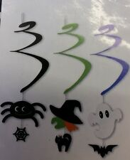 3x Halloween Spiral Hanging Decoration  Spider - Witch - Ghost - Web - Cat -Bat