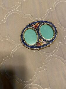 Vtg, mosaic/brass double Italian picture frame,easel-style