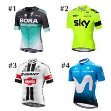 UK Mens Team Short Sleeve Cycling Jersey Bicycle Full Zip Racing Shirt Bike Top