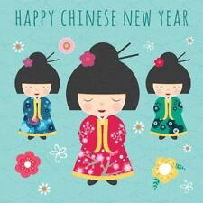 """Happy Chinese New Year Greetings Card - Oriental Dolls & Flowers 5.75"""" x 5.75"""""""