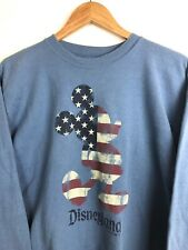 Disney Mickey Mouse USA Flag Blue Sweatshirt Vtg 90s Retro Hoodie Mens Medium