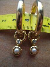 Ohrclipse: Halbcreolen mit Einhänger Strass + Perle, gold Modeschmuck, w. NEU!