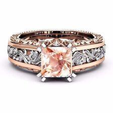 8mm Princess Cut White & Rose Gold Filled Silver Aquamarine/Topaz Ring Size 5-11