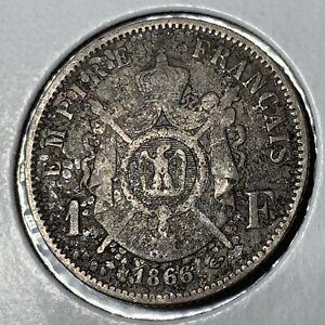 1866 A SILVER NAPOLEON III FRENCH 1 FRANC SCARCE