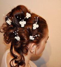 Neu 6 Haarnadeln Haarschmuck Braut  Blume Perlen weiß , ivory