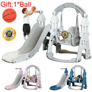 Toddler Swing and Slide Set 4 in 1 Basketball In/Outdoor Playground Garden Toy
