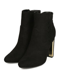 New Women Qupid Panel-08 Faux Suede Lace Up Metallic Trim Chunky Heel Bootie